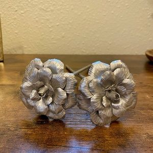 Hand Forged Metal Roses Flowers Decor